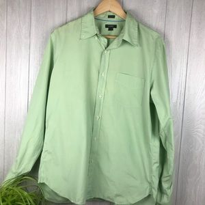 J. Crew tailored fit green button down shirt